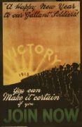 "Vintage WW1 poster. ""A happy new year to our gallant soldiers!"" You can make it certain if you join now"